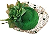 Veil Pillbox Hat Fascinator Hair Clip Wedding Party Headwear Bridal Top Hat (Green)