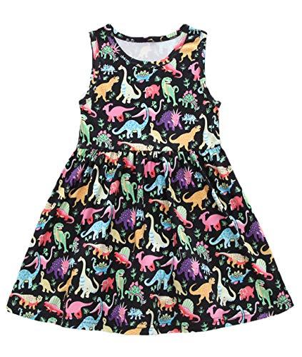 lymanchi Kid Girls Summer Sleeveless Dinosaur Printed Cotton Casual Swing Dress 730 110cm Black]()