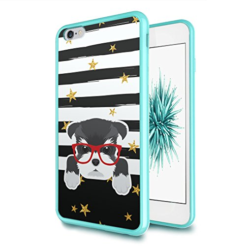 iPhone-6-Plus Case, Capsule-Case Hybrid Slim Hard Back Shield Case with Fused TPU Edge Bumper (Teal Green) for iPhone 6S Plus/iPhone 6 Plus - (Miniature Schnauzer) (Six Miniatures)