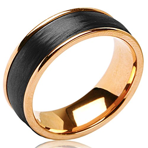 (Two-Tone 8MM Rose Gold Plated Stainless Steel Satin Brushed Forged Black Carbon Fiber Ring Band, Size 10)
