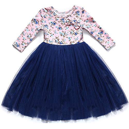 Flofallzique Long Sleeve Toddler Dress 1-8 Years Old Maxi Girls Dress Vintage Flower Baby Clothes (1, -