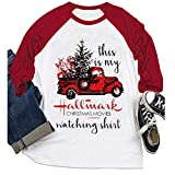 YourTops Women 3/4 Sleeve This is My Christmas Movie Watching Blouse Hallmark Shirt Red