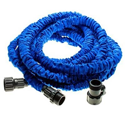 Worth Flexible Expandable Garden Hose 25Feet , Double Layer Latex Retractable Collapsible Garden Water Hose with 7 Functions Spray Nozzle,Expands to 3 Times Length (25Ft, Blue )