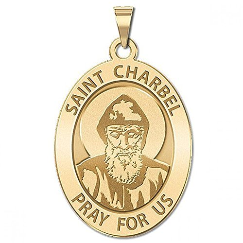 Saint Charbel OVAL Religious Medal - 1/2 X 2/3 Inch Size of Dime, Solid 14K Yellow Gold