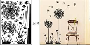 "1 X Black Dandelion Flower Plant Tree Large Removable Wall Decor Decal Sticker 57"" X 29"""