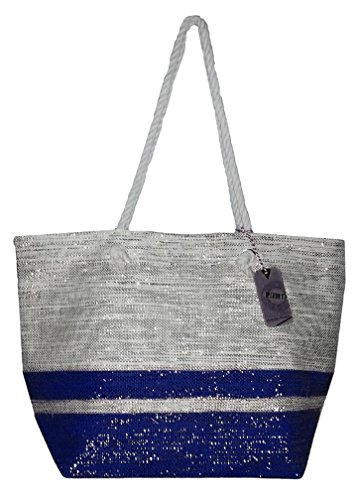 Silver Metallic Striped Fashion Beach
