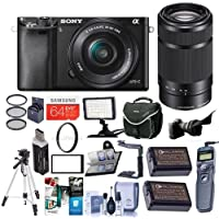 Sony Alpha A6000 Mirrorless Digital Camera with 16-50mm f/3.5-5.6 OSS and 55-210mm f/4.5-6.3 OSS Lenses, Black - Bundle with 64GB SDHC Card, Camera Bag, Video Light, Tripod, Software Package and More