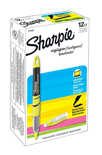 Sharpie Highlighters, Chisel Tip, Fluorescent Yellow, 12-Count by Sharpie (Image #1)