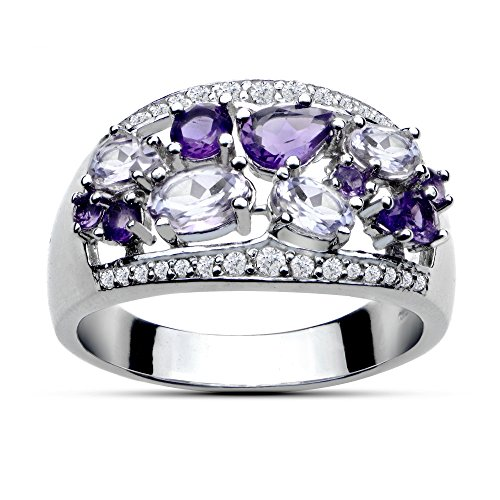 Ice Gems Sterling Silver 2.4ct TGW African Amethyst, Amethyst and White Topaz Tonal Band Ring