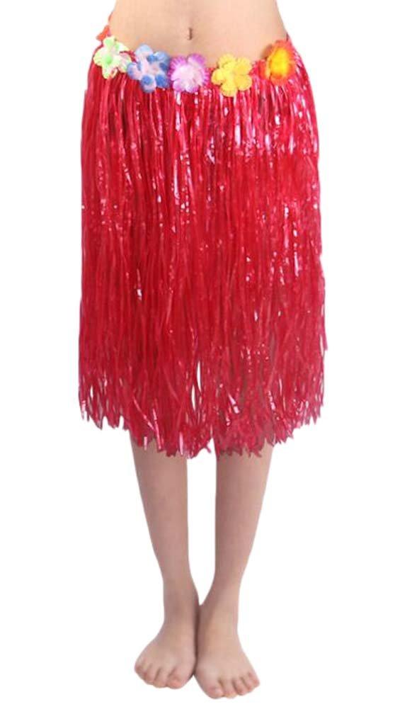 Falda de Hierba Elástica Roja Hula de Hula para Adultos Black Temptation