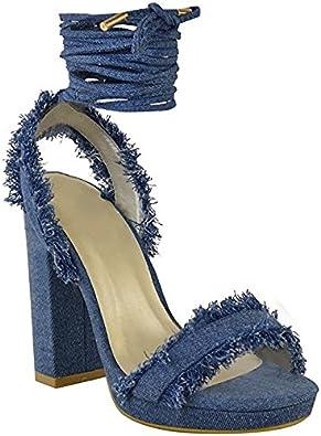 Yeahyet Denim Blue Womens High Heels