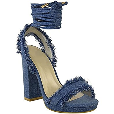 49c6f8aff Yeahyet Denim Blue Womens High Heels Sandals Pump Lace Up Strap Party  Chunky High Heels Shoes