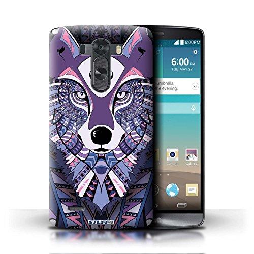 Kobalt® Imprimé Etui / Coque pour LG G3/D850/D855 / Loup-Pourpre conception / Série Motif Animaux Aztec