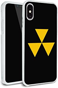 Fallout Shelter Civil Defense Symbol Radioactive Radiation Safe Zone Protective Slim Fit Hybrid Rubber Bumper Case Fits Apple iPhone 8, 8 Plus, X, 11, 11 Pro,11 Pro Max