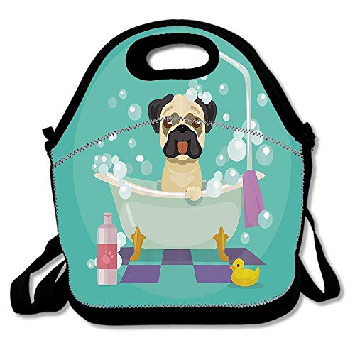 Pug Dog in Bathtub Grooming Doggy Puppy Salon Service Shampoo Rubber Duck Pets Cartoon Image Reusable Neoprene Lunch Bag Insulated Lunch Box Tote for Women Men Adult Kids Teens Boys Teenage
