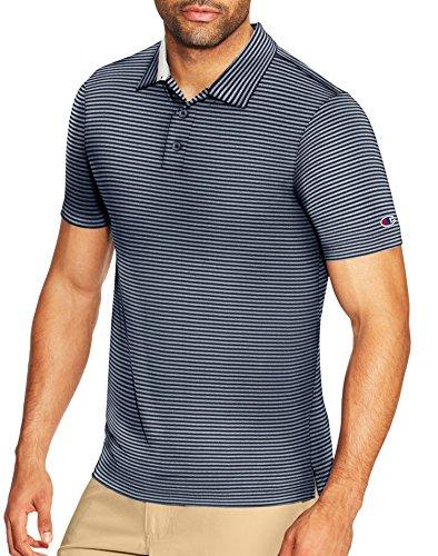 Champion Men's Golf Polo, Navy Stripe, XXL - Logo Golf Shirt