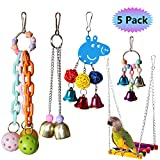 RYPET 5PCS Bird Hanging Bell Toy - Bird Chewing Toy Pet Parrot Hammock Swing for Small Medium Birds