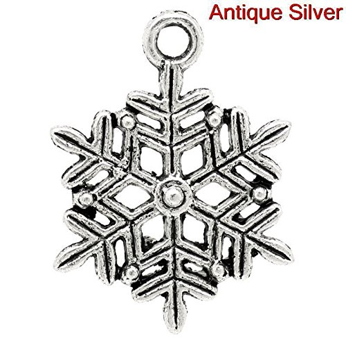 Lot of 20 Pc Charm Pendant Christmas Snowflake Hollow 22mm x 17mm LC3673 Vintage Crafting Pendant Jewelry Making Supplies - DIY for Necklace Bracelet Accessories by CharmingSS ()