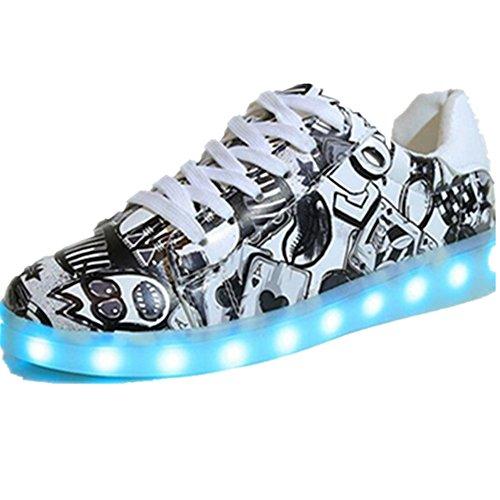 Costumes For Middle Schoolers (LED Light Unisex kids Child Boys Girls Sport Sneakers Cute design Luminous Flashing Shoes (black 39/8 B(M) US Women / 6 D(M) US Men))