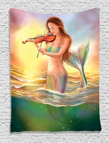 Mermaid Decor Tapestry Wall Hanging By Ambesonne, Mermaid Playing ViolIn Sunset View Colorful Realistic Design, Bedroom Living Room Dorm Decor, 60 W x 80 L Inches