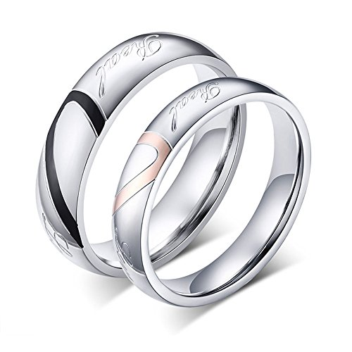TTVOVO His or Hers Real Love Heart Stainless Steel Band Ring Promise Ring Valentine Love Couples Wedding Engagement Jewelry - Women Size -