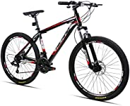 Hiland 26 Inch Mountain Bike Aluminum MTB Bicycle with 17 Inch Frame Kickstand Disc-Brake Suspension Fork Cycl