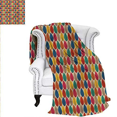 (RenteriaDecor Woodland Digital Printing Blanket Fallen Leaves Colorful Velvet Plush Throw Blanket 90