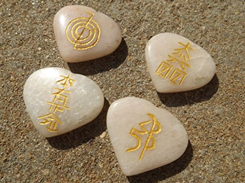Set 4 Peach Moonstone Crystal Reiki Symbol Stones Engraved Heart Shaped