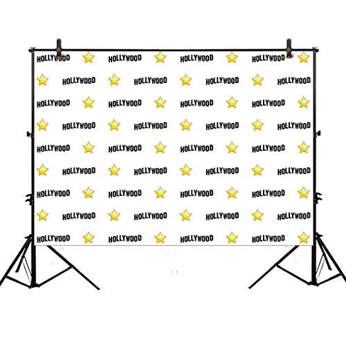 Allenjoy 7x5ft Hollywood Star Themed Step and Repeat Backdrop for Red Carpet Events Birthday Party Banner Photo Studio -