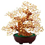 SUNYIK Citrine Money Tree Bonsai Tumbled Crystal Lucky Fengshui Healing Decoration 8 Inch