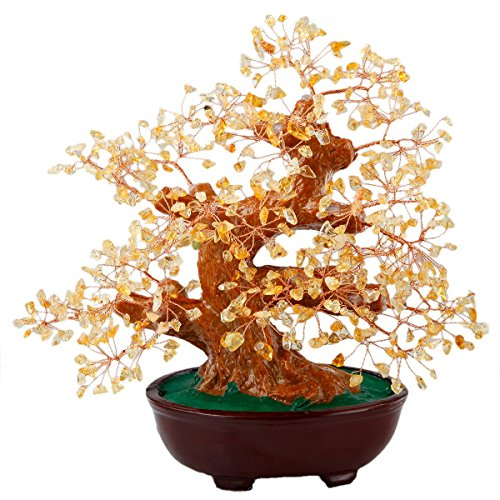 SUNYIK Citrine Money Tree Bonsai Tumbled Crystal Lucky Fengshui Healing Decoration 8 Inch - Heart Tree Decorations