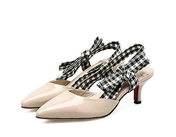 54b5d1ac Onfly 6 cm Kitten Talón punta estrecha Slingbacks Sandalias Zapatos de vestir  Mujeres Bomba Simple tela escocesa Pajarita OL Court Shoes Party Shoes Eu  ...