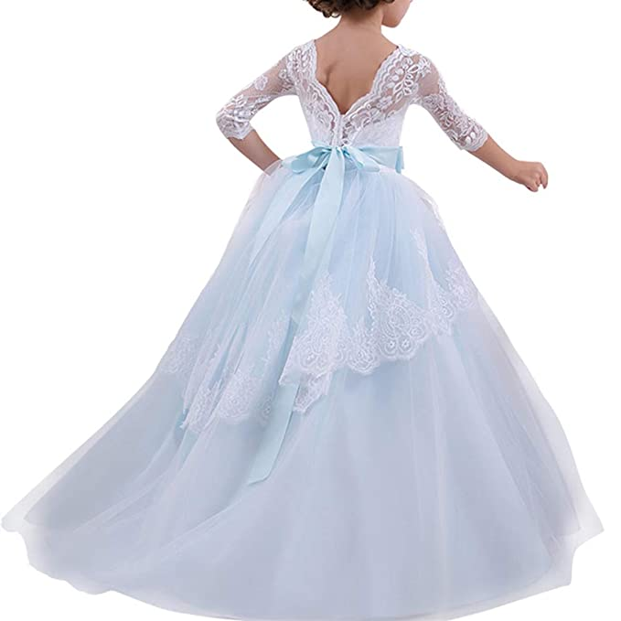 Girl Flower Tulle Princess Dresses Lace Back A-Line Wedding Pageant Party  Dresses Age 2-14 Years