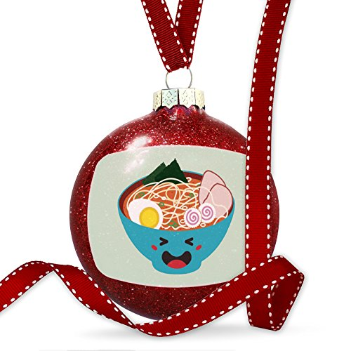 Christmas Decoration Spicy Ramen Bowl Cute, Japanese Kawaii Food with Face Ornament (Ornament Christmas Face)