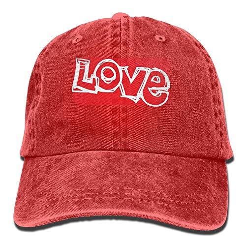 Hat Love Red Denim Skull Cap Cowboy Cowgirl Sport Hats for Men Women