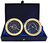 Master-Mariner Windlass Gift Set Clock & Comfort Meter by, Gold finish, Blue flag dial