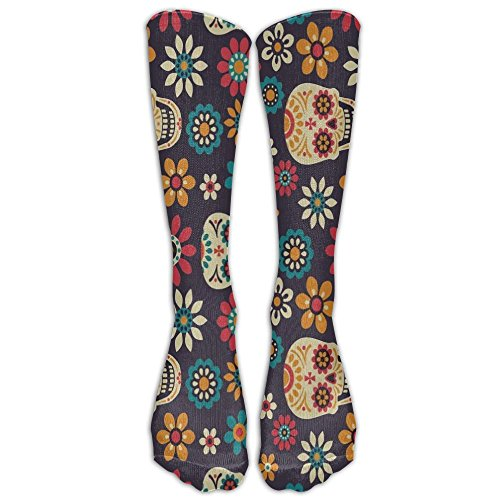 NEW Day Of The Dead Skull Floral Unisex Compression Socks For Women's Men's Classics Knee High Socks Sport Long Sock One Size