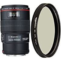 Canon EF 100mm f/2.8L IS USM Macro Lens for Canon Digital SLR Cameras and AmazonBasics Circular Polarizer Lens - 67 mm