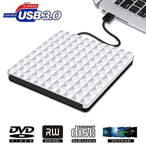 - External CD DVD Drive, USB 3.0 Optical DVD Burner RW Player CD Row Rewriter Portable for MacBook OS Windows PC