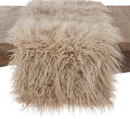 Fennco Styles Decorative Faux Mongolian Fur Runner (Oatmeal, 16