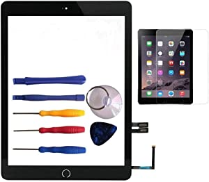 for 2018 iPad 6 Glass Touch Screen Digitizer Replacement Kit Black A1893 A1954 with Home Button Flex, Adhesive Tape, Screen Protector, Instruction Manual,and Repair Toolkit