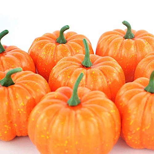 ShellKingdom Artificial Mini Pumpkin for Decoration, Fall Pumpkin for Home/Wedding Thanksgiving/Halloween/Party Decoration 12 PCS(Orange) -