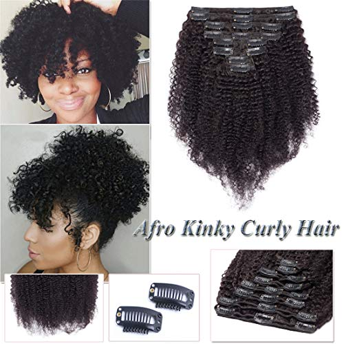 Kinky Curly Clip in Human Hair Extensions for Black Women Afro Kinky Curly Human Hair Extensions for African American Lady Double Weft Full Head #Natural Black 8Inch 8PCS/18Clips/Set