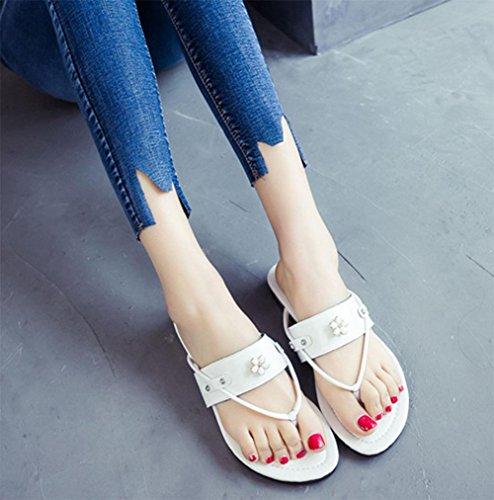 planas arrastre sandalias clip y verano mujeres sandalias de de Sandalias del las de ms zapatillas del las White 8qffHw