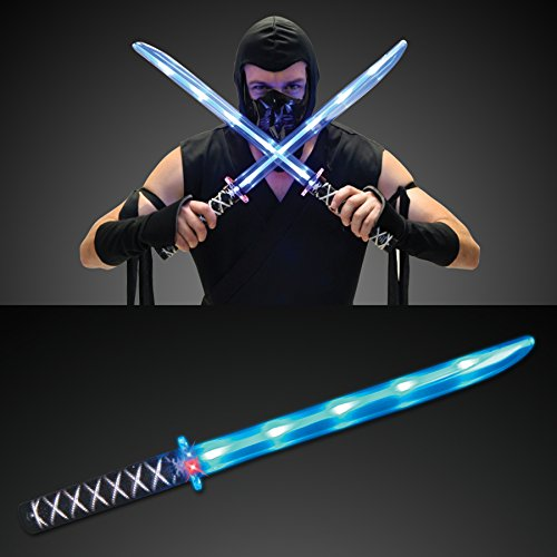 Kids Blue Ninja Costume - Deluxe Ninja LED Light up Sword with Motion Activated Clanging Sounds