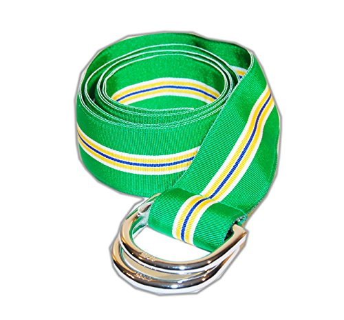 Polo Ralph Lauren Mens Grosgrain Ribbon D-Ring Belt Green Yellow Blue USA Small