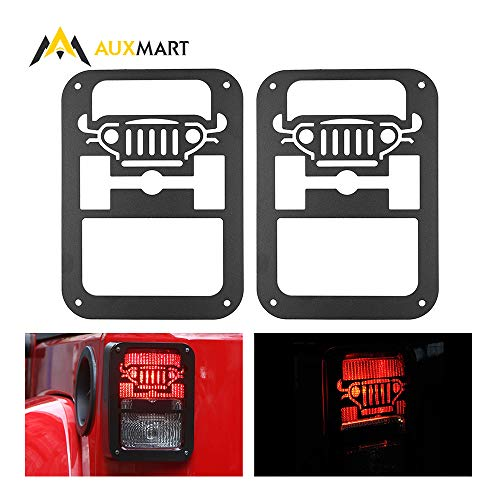 AUXMART Tail Light Covers for Jeep Wrangler 2007-2017, Tail Light Guard for Jeep Wrangler JK, Black (Pack of 2)