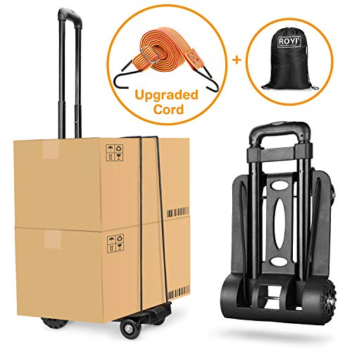 (Folding Hand Truck Heavy Duty 155 lbs Loading Capacity 4 Wheel Solid Construction Compact and Lightweight Utility Cart for Luggage/Personal/Travel/Auto/Moving & Office Use Portable Fold Up Hand Cart )