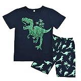 Boys Pyjamas Set Dinosaur Print Kids Pjs Pajama Short Sleeve Cotton Sleepwear Tops Shirts & Pants Nightwear Children Outfit Age 1-7 Years