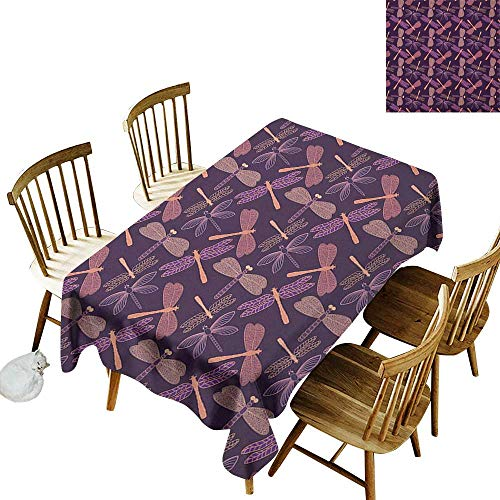 Cranekey Outdoor Tablecloth Rectangle W54 x L72 Dragonfly Girly Feminine Design with Stylized Vintage Vibrant Insect Animals Pattern Purple Peach Great for Coffee More